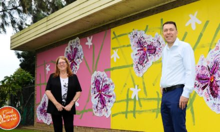 Fringe Lily Mural unveiled outside Campbelltown Library